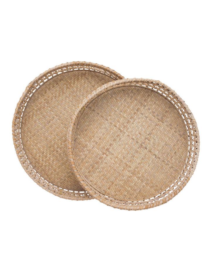 Heritage Hand Woven Bamboo Set of 2 Oversized Circular Trays image 1