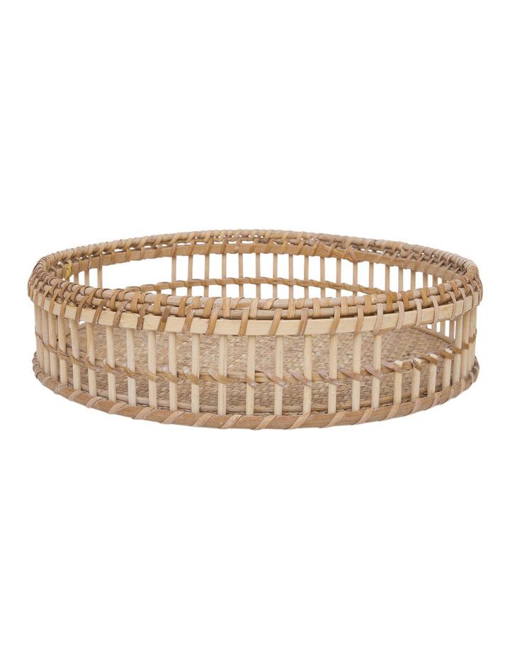 Heritage Hand Woven Bamboo Set of 2 Oversized Circular Trays image 2