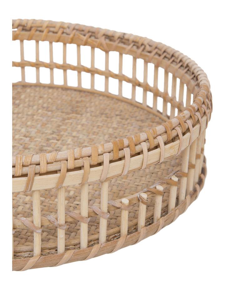 Heritage Hand Woven Bamboo Set of 2 Oversized Circular Trays image 3