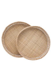 Heritage - Heritage Hand Woven Bamboo Set of 2 Oversized Circular Trays