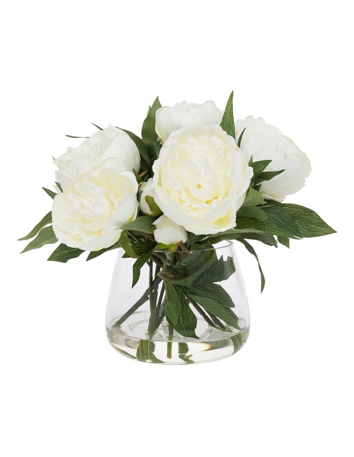 Heritage Peony in  Classic Glass Bowl White image 1