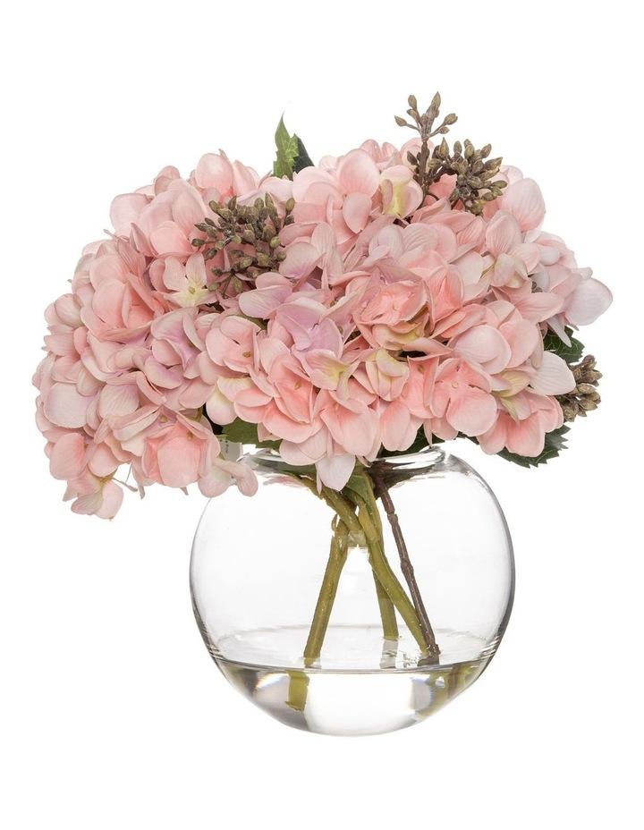 Hydrangea Mix in Sphere Vase in Pink image 1