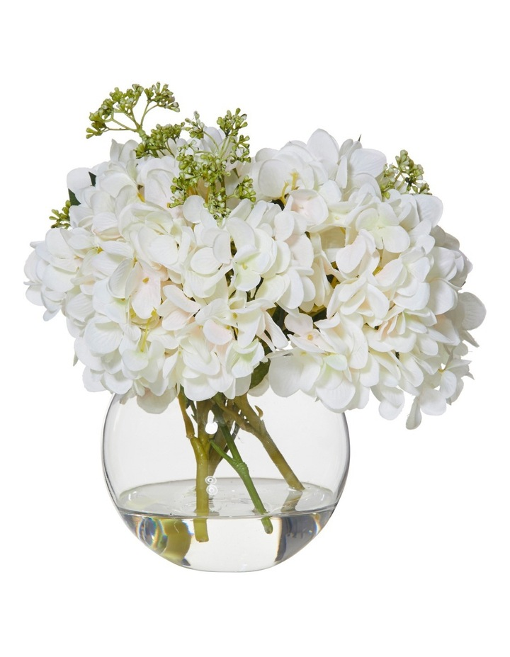 Hydrangea Mix in Sphere Vase White image 1