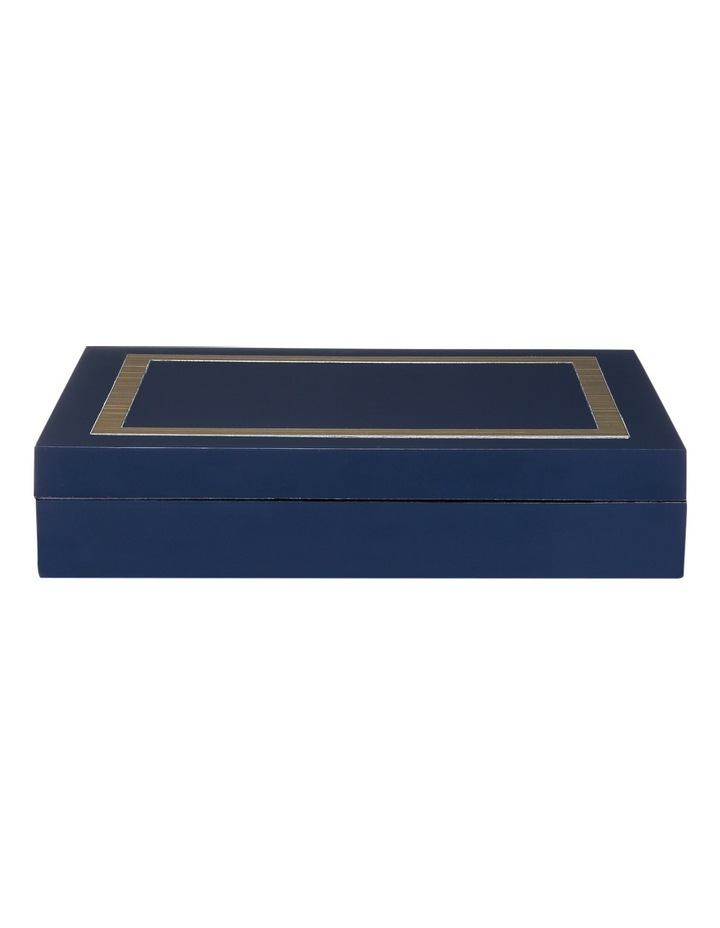 Darren Palmer Navy Gloss Resin Box with Brass Inlay 23.5 x 18 x 5cm image 1