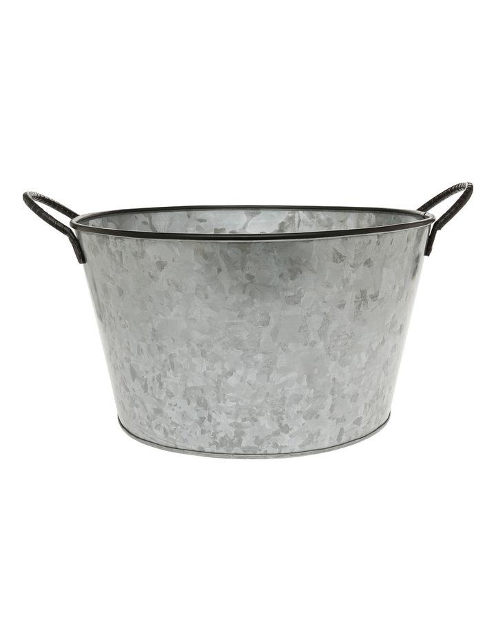 Galvanised Iron Round Drinks Tub with Wrought Iron Handles 36x21cm image 1