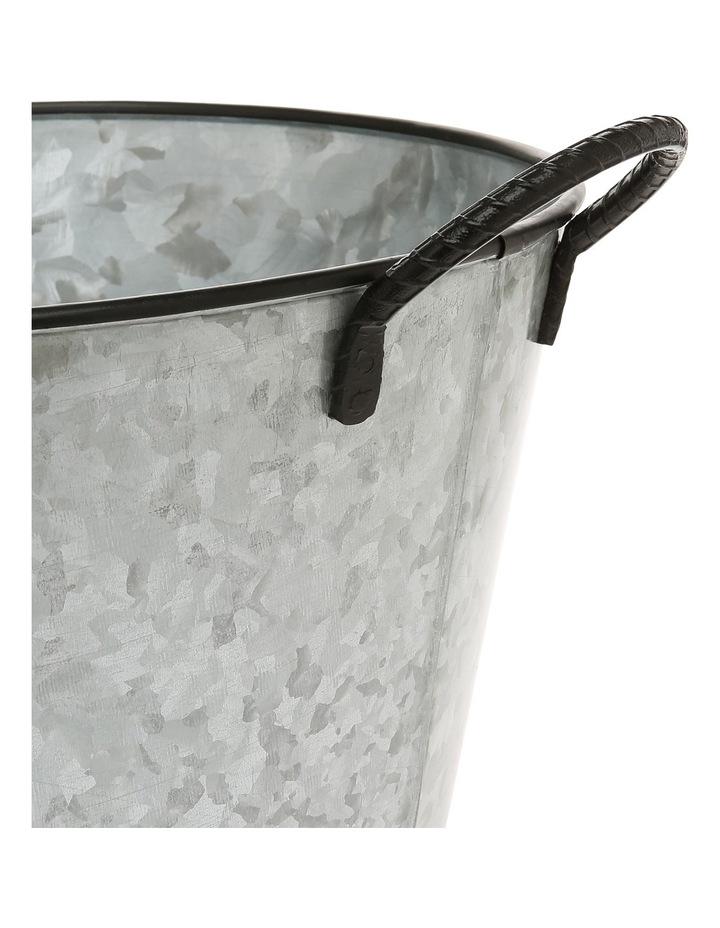 Galvanised Iron Round Drinks Tub with Wrought Iron Handles 36x21cm image 2