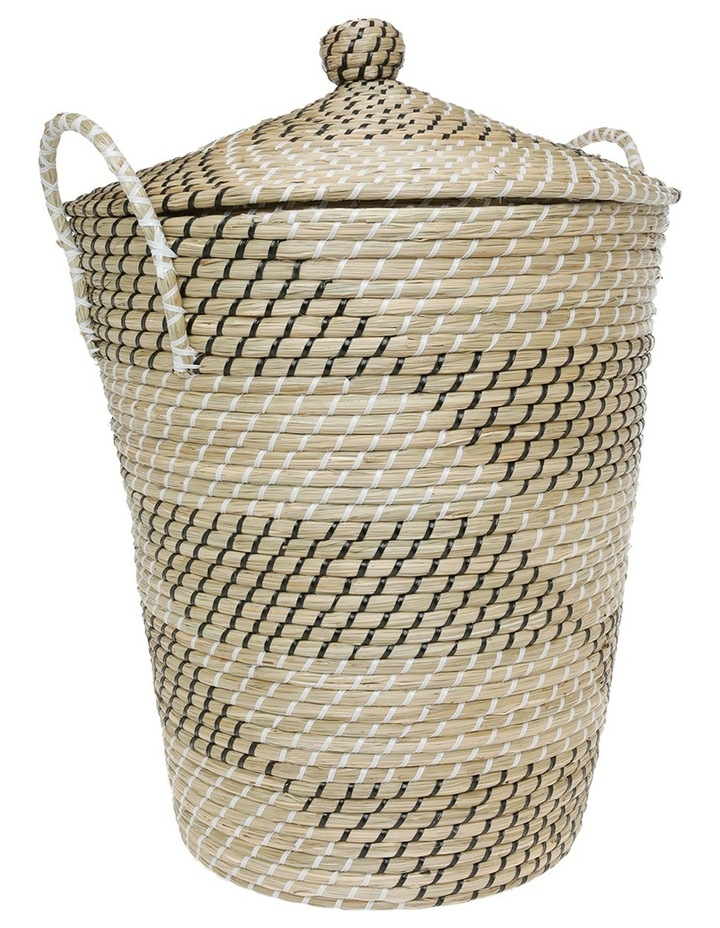 Woven Seagrass Storage Basket with Lid image 1