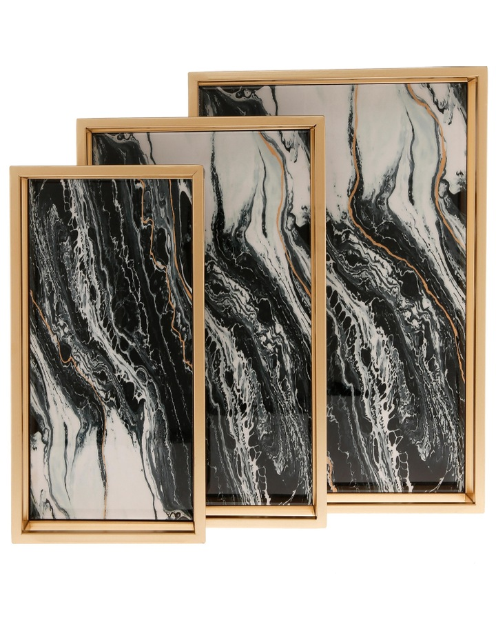 Set of 3 Rectangle Trays with Marbled Finish image 1