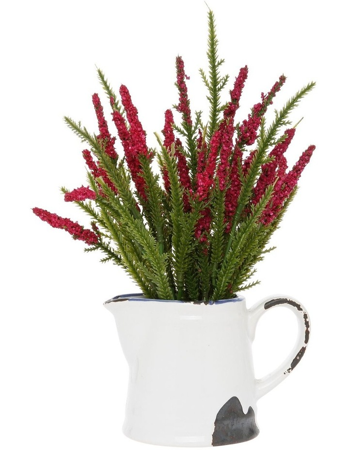 Red Wildflower in Rustic White Pot image 1