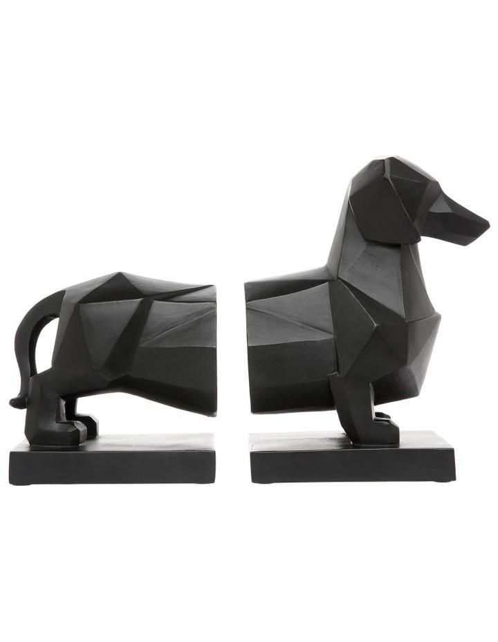 Faceted Sausage Dog Bookend Matte Black image 1