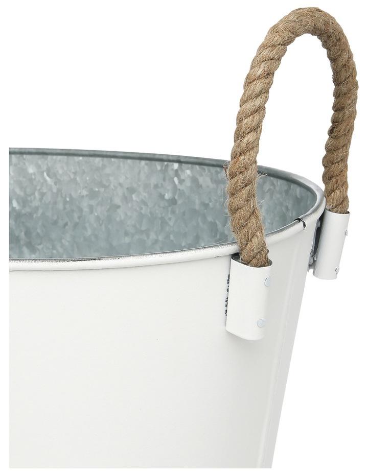 Galvanised Iron Oval Tub with Jute Handles Large 51x30x22cm image 2