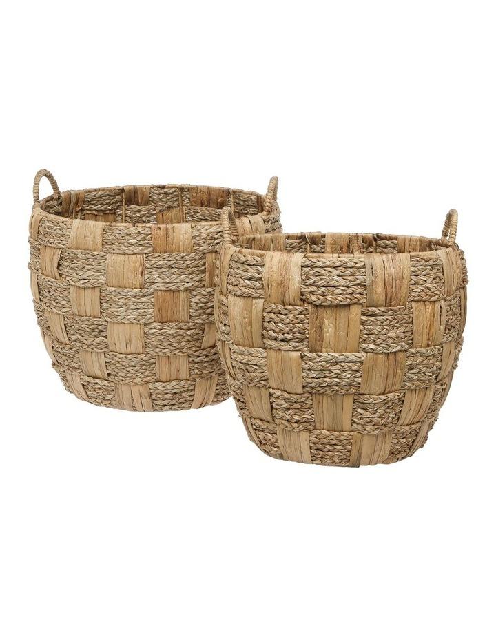 Set of 2 Cross Weave Round Baskets image 1