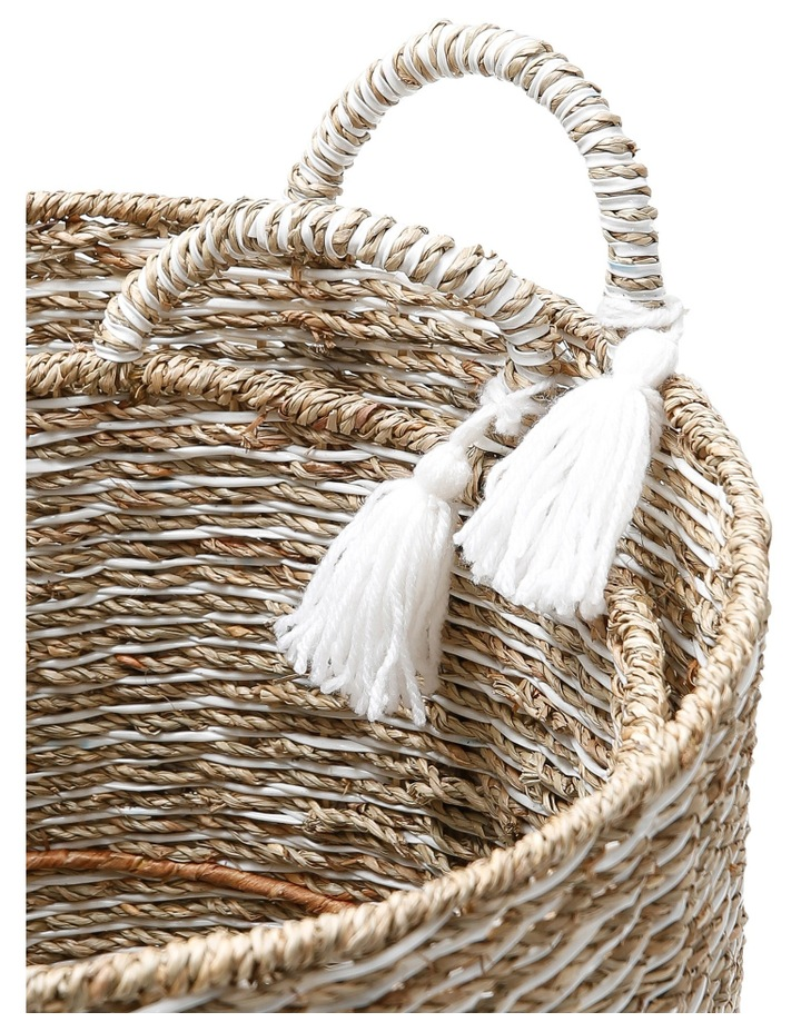 Set of 2 Seagrass And Plastic String Woven Baskets image 2