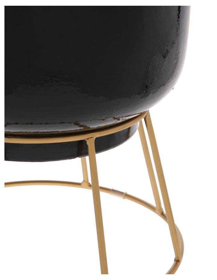 Ceramic Pot On Gold Metal Stand 28cm image 2