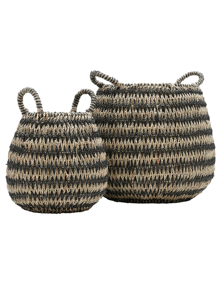 Set of 2 Round Arrow Weave Baskets image 1