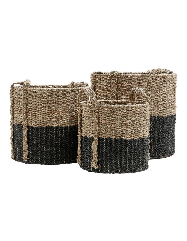 Set of 3 Two-tone Seagrass Baskets image 1
