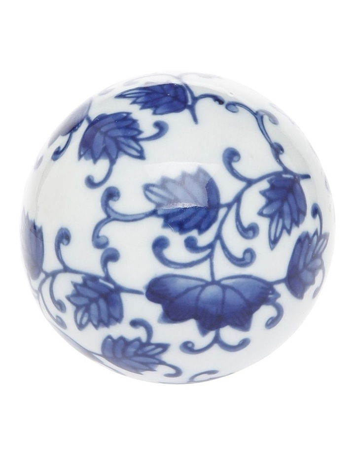 Hand Painted Ceramic Deco Ball Small White Blue image 1