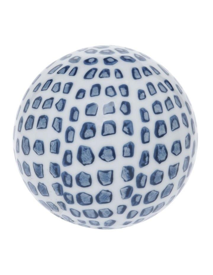 Hand Painted Ceramic Deco Ball Medium White Blue image 1