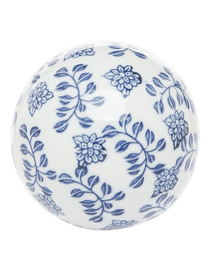 Hand Painted Ceramic Deco Ball Large White Blue image 1