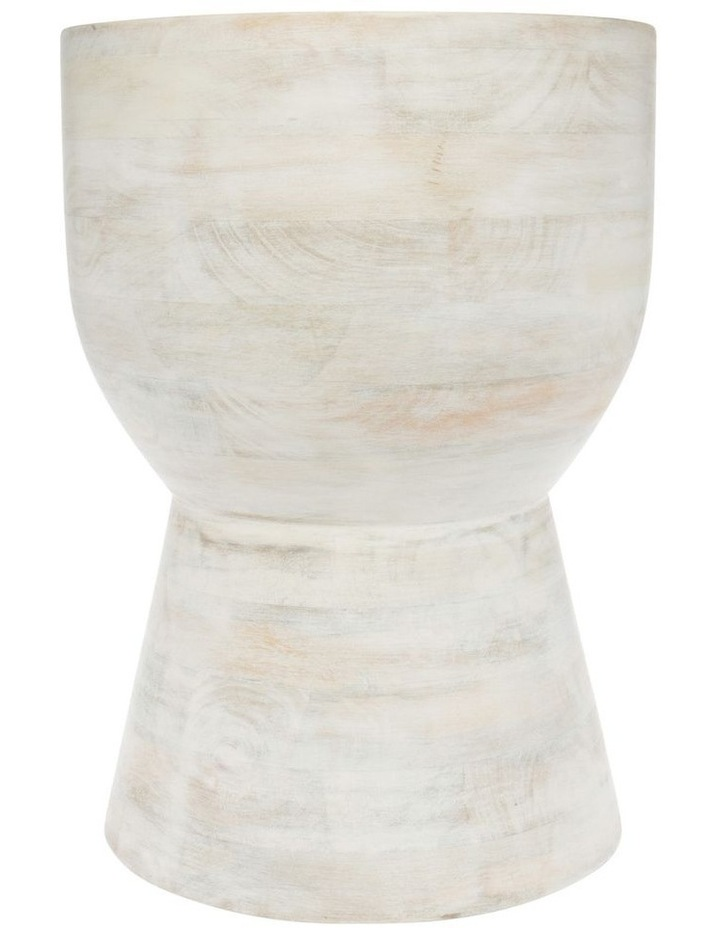 White Wash Wooden Accent Table image 1