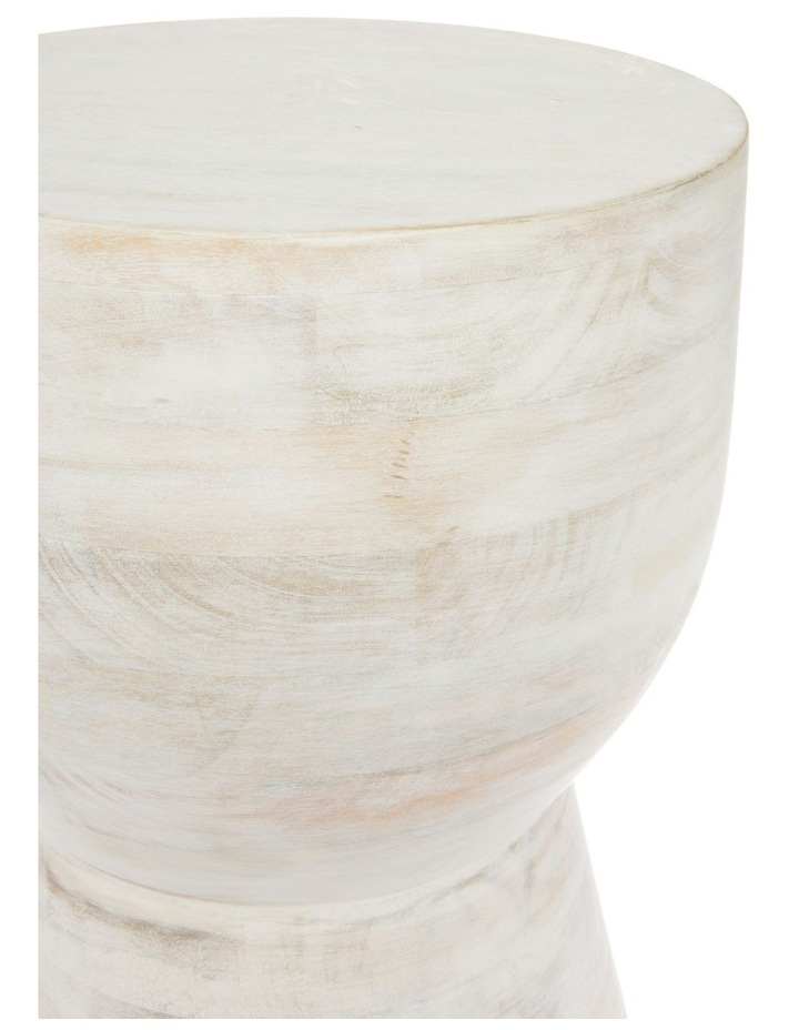 White Wash Wooden Accent Table image 2