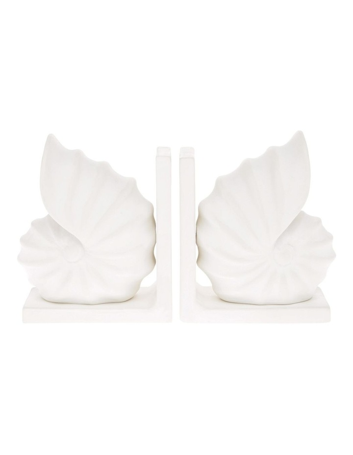 White Ceramic Seashell Bookends - Set of 2 image 1