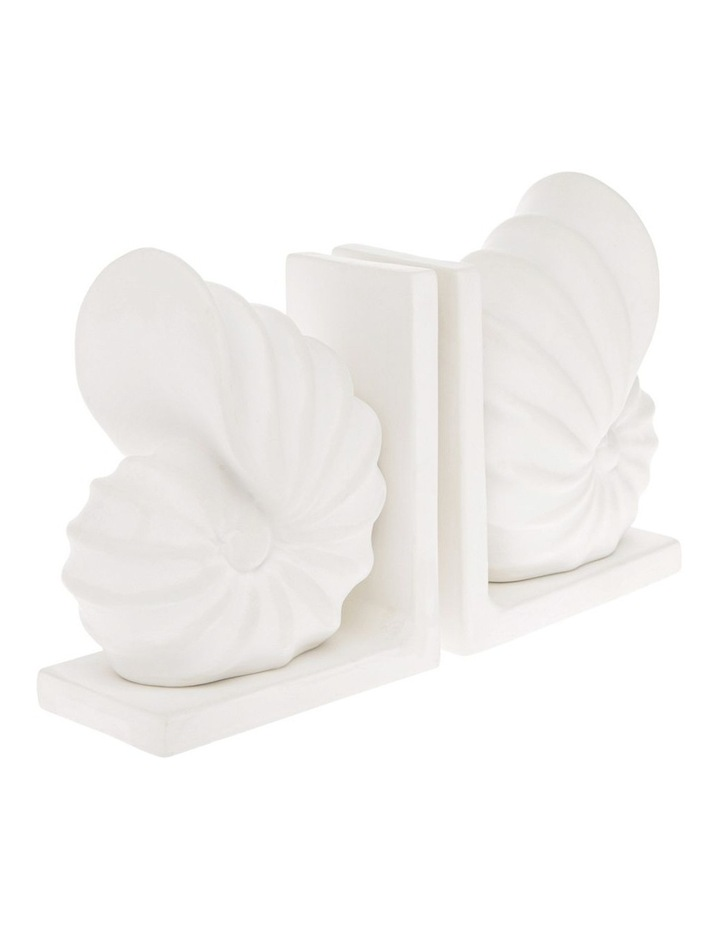 White Ceramic Seashell Bookends - Set of 2 image 2