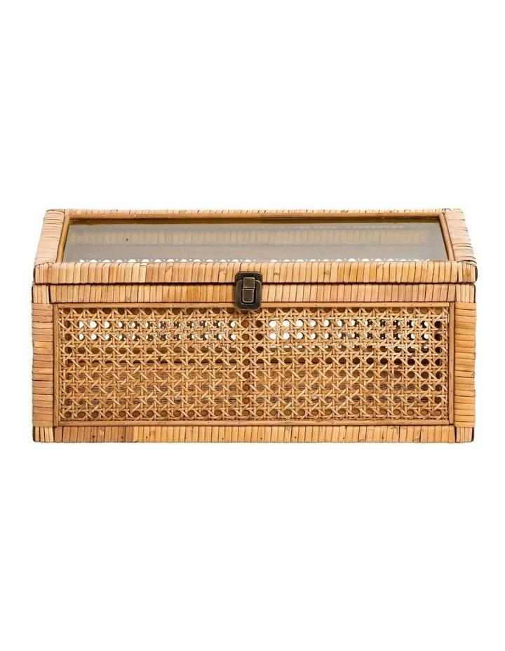 Rattan Box with Glass Lid 45x30cm image 1
