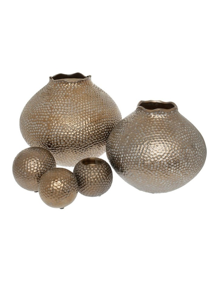 Hammered Effect Stoneware Deco Ball Bronze image 3