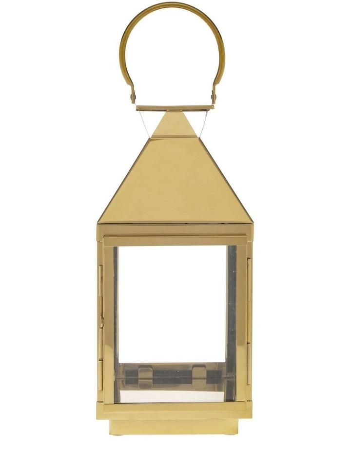 Stainless Iron & Glass Lantern Gold 38cm image 1
