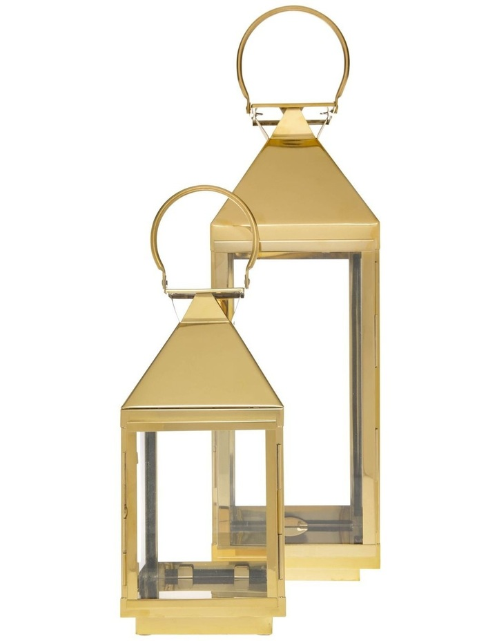 Stainless Iron & Glass Lantern Gold 38cm image 1