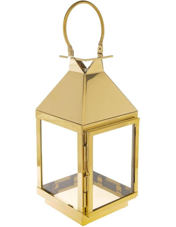 Stainless Iron & Glass Lantern Gold 38cm image 2