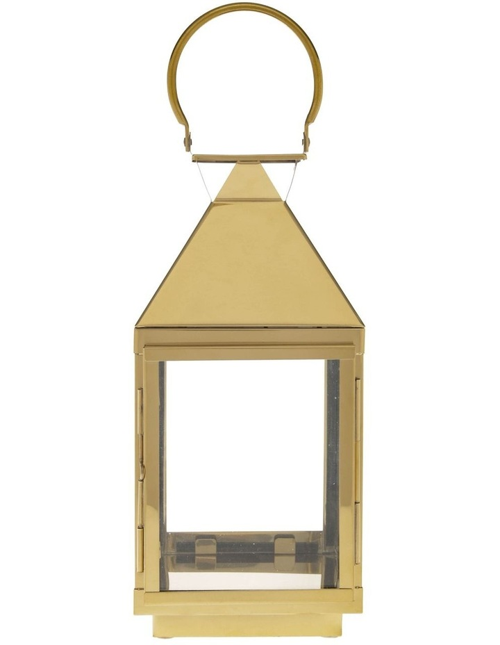 Stainless Iron & Glass Lantern Gold 38cm image 2