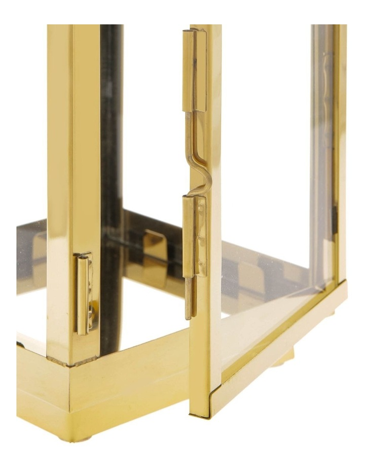 Stainless Iron & Glass Lantern Gold 38cm image 3