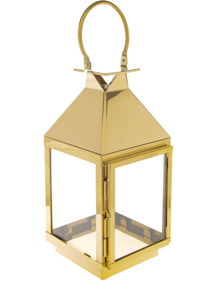 Stainless Iron & Glass Lantern Gold 38cm image 3