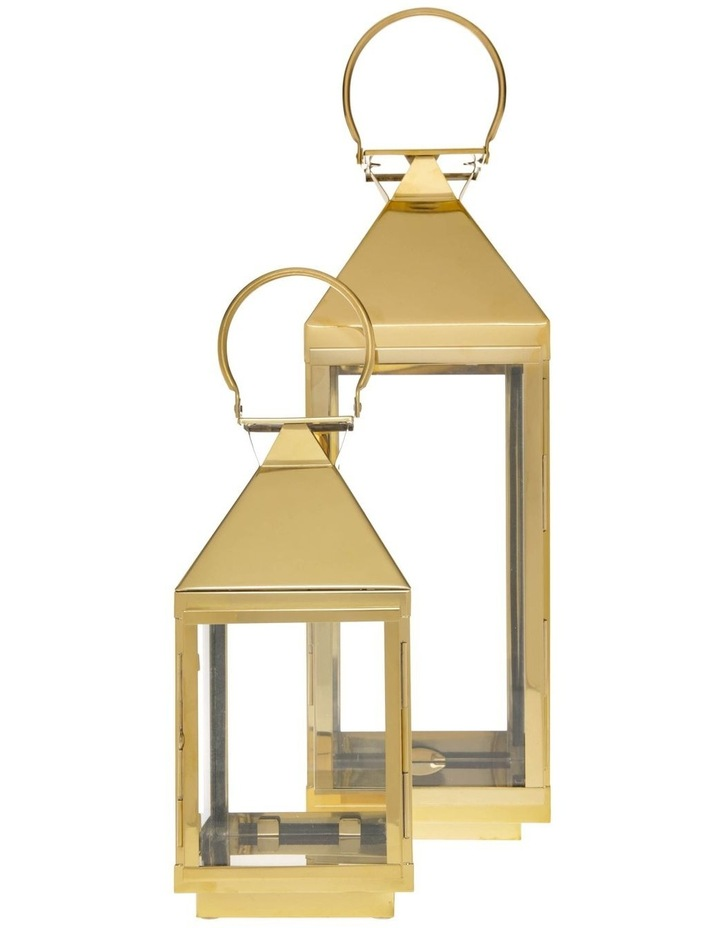 Stainless Iron & Glass Lantern Gold 38cm image 4
