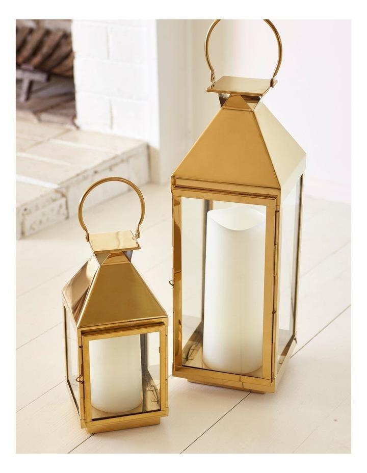 Stainless Iron & Glass Lantern Gold 38cm image 5