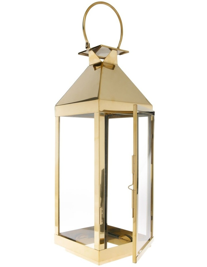 Gold-Tone Stainless Iron & Glass Lantern - 59cm image 2