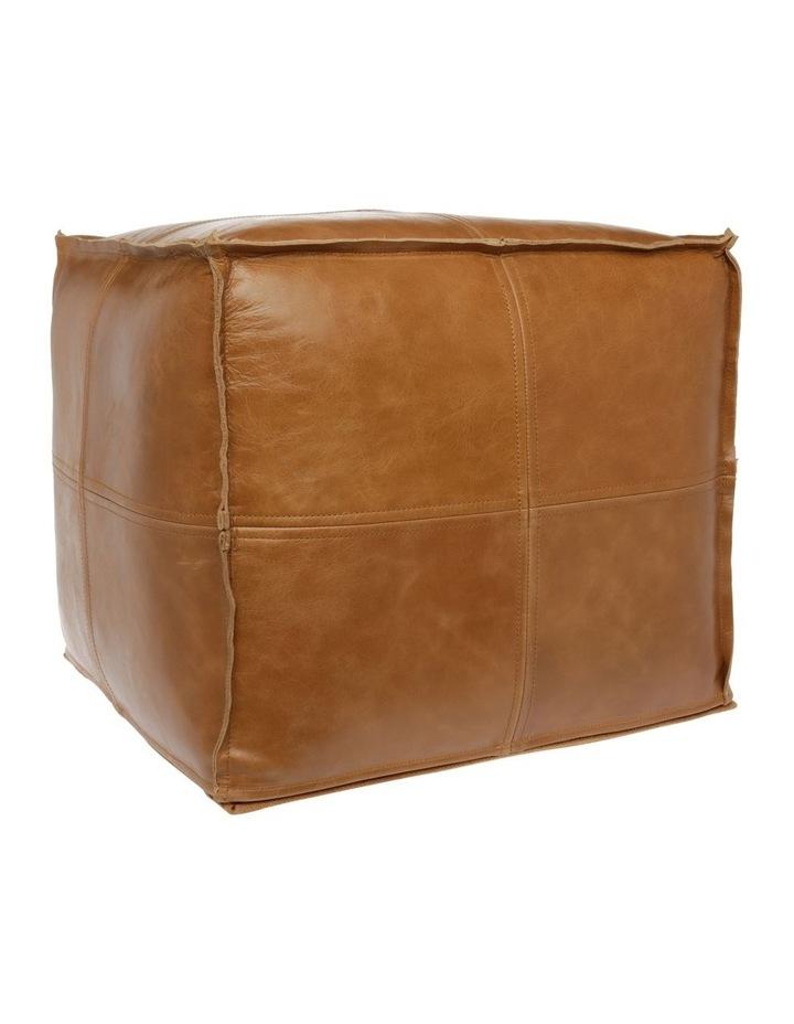 Leather Pouf Tan image 2