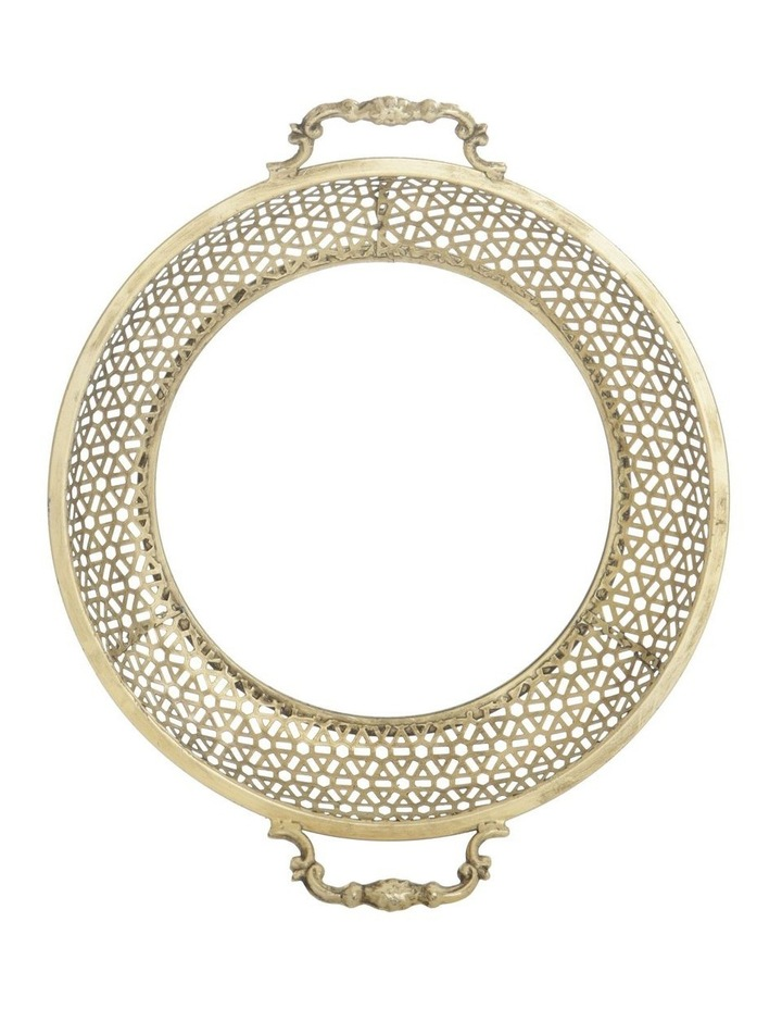 Round Metal Tray with Mirror Base - Antique Gold 40.5cm image 1