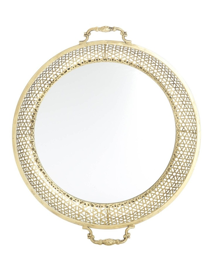 Round Metal Tray with Mirror Base - Antique Gold 50cm image 1