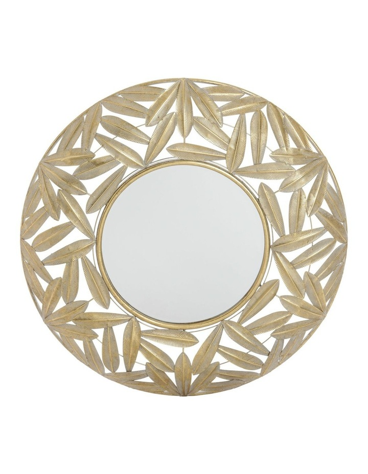 Round Wall Mirror with Leaf Pattern - Antique Gold 80.5cm image 1