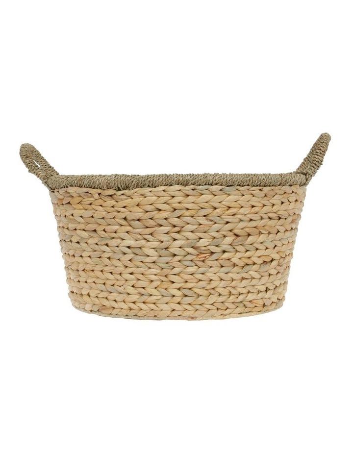 Medium Light Brown Woven Water Hyacinth Basket image 1
