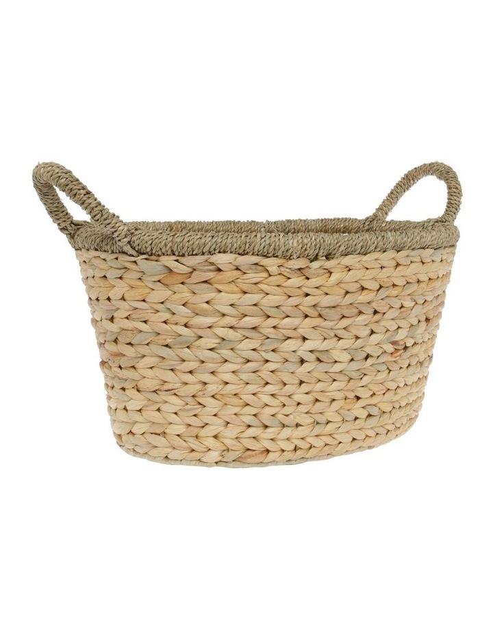 Medium Light Brown Woven Water Hyacinth Basket image 2