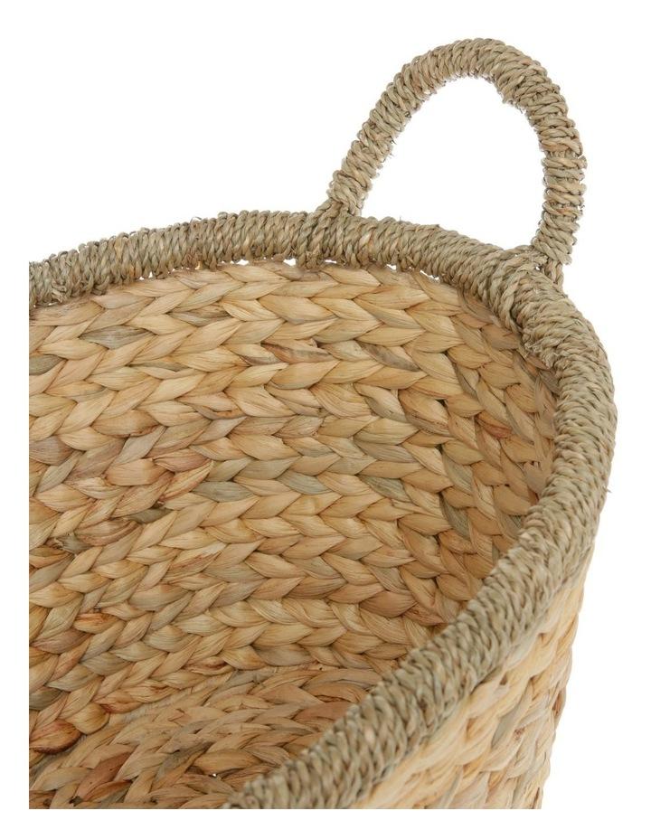 Medium Light Brown Woven Water Hyacinth Basket image 3