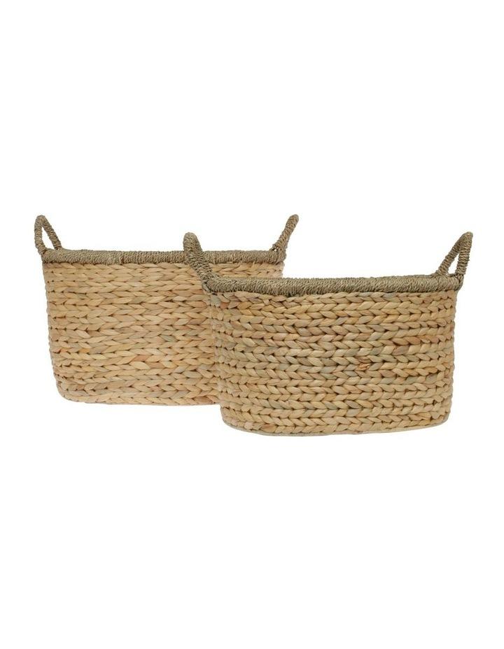Medium Light Brown Woven Water Hyacinth Basket image 4