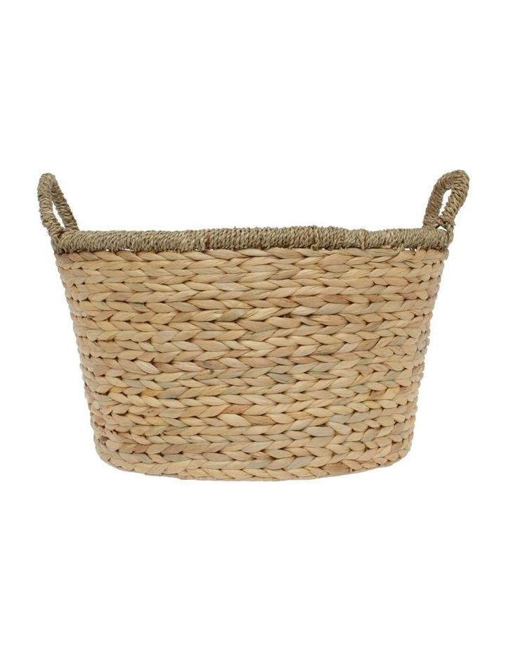 Large Light Brown Water Hyacinth Basket image 1