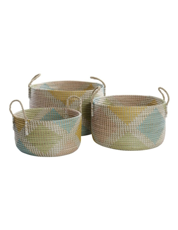 Multicoloured Patterned Woven Baskets image 1