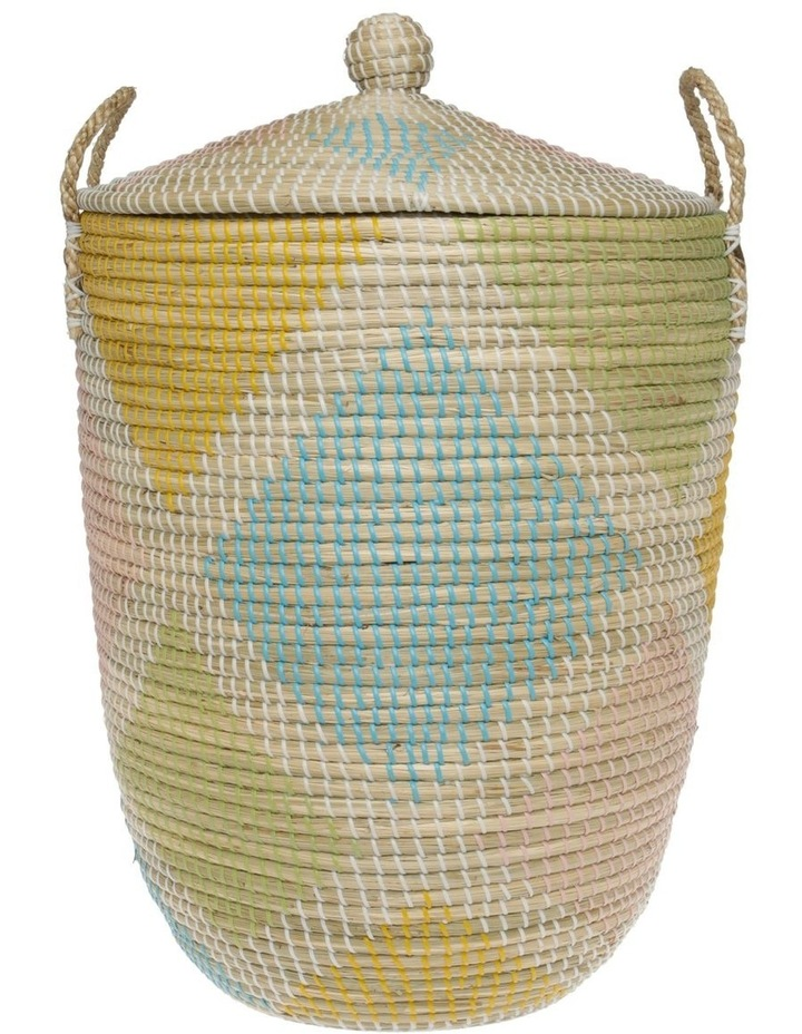 Handwoven Multicolour Pattern Laundry Hamper image 1