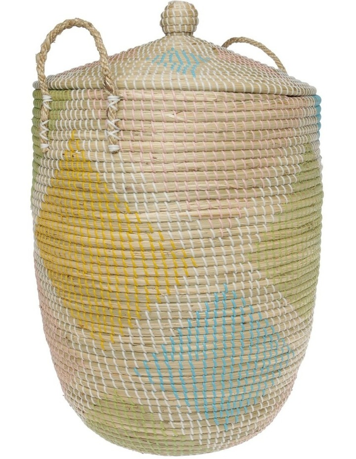 Handwoven Multicolour Pattern Laundry Hamper image 2